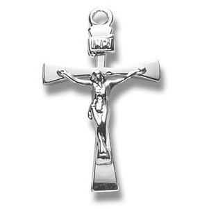Sterling Silver Sm. Crucifix Cross with Tapered Ends Medal with 18
