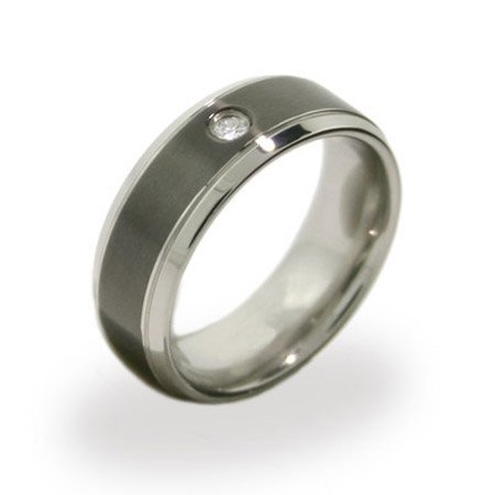 Mens Stainless Steel and Black Promise Ring with Inset CZ Size 11 (Sizes 10 11 12 Available)