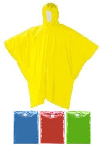 (4 Pack) Reusable Raincoat w/ Hood Yellow, Green, Blue and Red Rain Poncho
