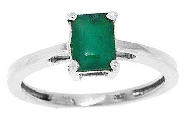 0.65ct taglio smeraldo autentico smeraldo oro bianco anello 10kt