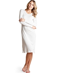 Long Sleeve Textured Heart Thermal Nightdress