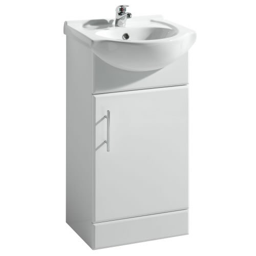 450mm Rigid White Gloss Vanity Unit with Ceramic Basin, FREE Tap and Waste