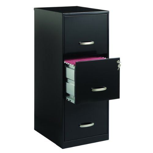Office Designs 18573 3 Drawer Black Steel File Cabinet. (1)