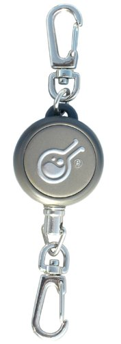 Civilian Rewind Gear Retractor Steel Cable Keychain Style Spring Winding Lanyard, Grey front-165418