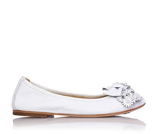 FLORENS - Ballerina bianca in pelle con applicazione frontale di fiocchi e fiorellini con strass, suola in cuoio, Bambina, Ragazza-31