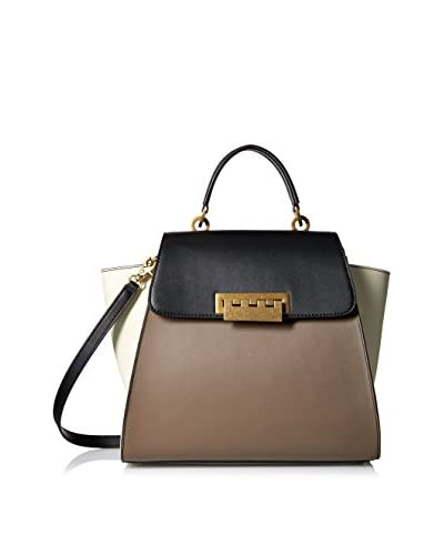 Zac Zac Posen Women's Eartha Iconic Top Handle Satchel, Black/Mink/White