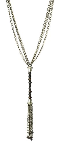 3 Row Black Tone Chain with Long Drop Peacock Freshwater Pearl and Tassel Necklace, 18
