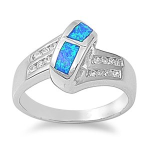 Sterling Silver Blue Lab Opal & CZ Engagement Ring (Size 6 - 10) - Size 9