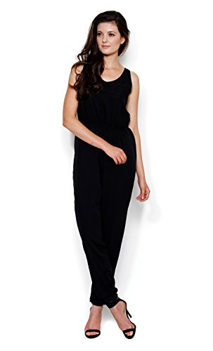 The Gud Look Poly Crepe Kendal Open Back Tailored Jumpsuit-Black X-Large