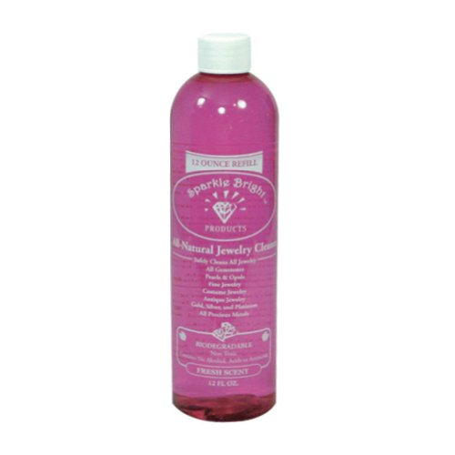 Sparkle Bright Products All-Natural Jewellery Cleaner | Liquid Cleaner Refill Bottle - 12oz.