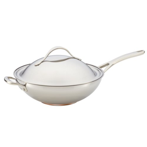 Anolon Nouvelle Copper Stainless Steel 12-Inch Covered Stir Fry with Helper Handle (Anolon Wok Pan compare prices)
