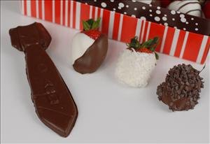 Chocolate Dad Tie with 1 Dozen Assorted Berries