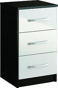 Birlea Lynx 3-Drawer Bedside, Black/ White