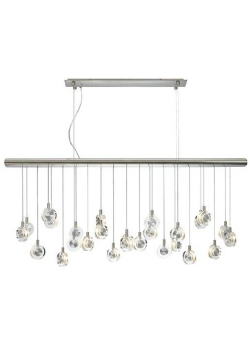 LBL Lighting HS524CRSC76 Island Lights with Transparent Crystal Discs Shades, Satin Nickel Finish