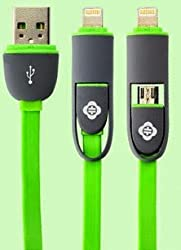TOTU Good Partner 2 in 1 cable for iPhone5S/5C/Samsung/HTC.etc-Green