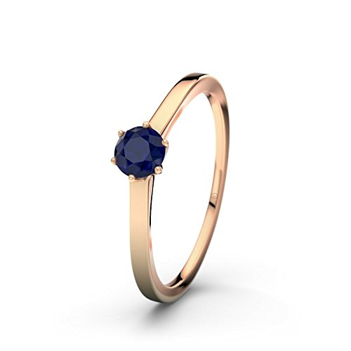 21DIAMONDS Women's Ring Amalfi Blue Sapphire Diamond Engagement Ring, 18 K Rose Gold Engagement Ring