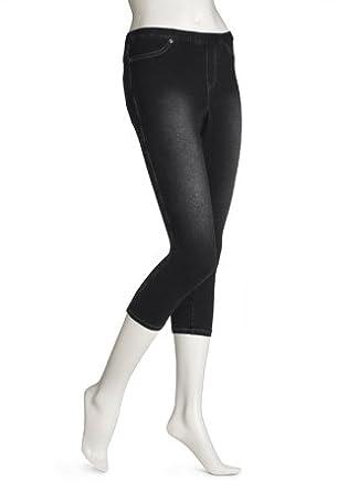 Hue Women's Skinny Jeanz Capri Legging, Blue, Small