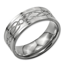 Genuine IceCarats Designer Jewelry Gift Titanium Sterling Silver Inlay Celtic Knot Flat 8Mm Polished Band Size 7.00