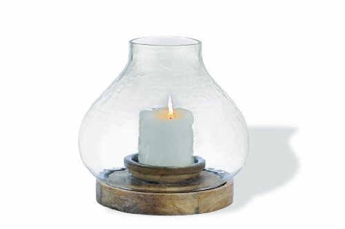 Foreside Home And Garden Wood And Glass Eco Hurricane Candle Holder Large