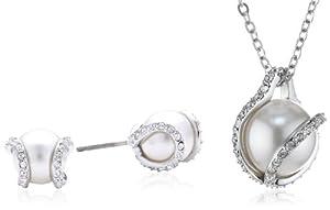 Swarovski Damen-Set Nude Kristall Perlen 38/1x1 cm 1081922