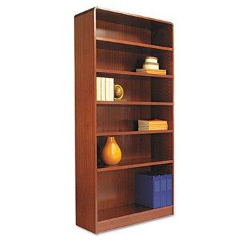 Radius Corner Wood Veneer Bookcase 6-Shelf 35-3/8 x 11-3/4 x 72 Medium Cherry