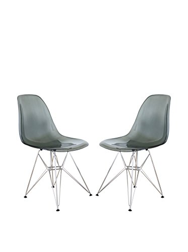 LeisureMod Set of 2 Cresco Molded Eiffel Side Chairs, Transparent Black