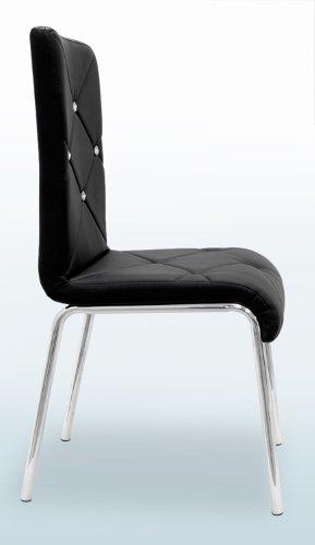 T244 - Contemporary 5 Pcs Dinette Set W/ Faux Leather Chairs (2 Colors) (Table W/ 4 Pcs Black Chairs)