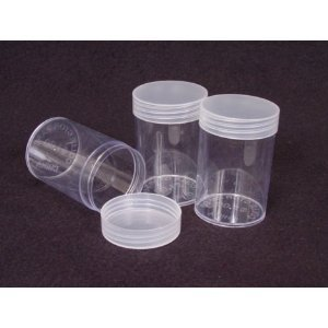 COIN STORAGE TUBES, round clear plastic w/ screw on tops for NICKELS (Quantity of 10 tubes)