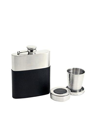 Bey-Berk Stainless Steel 7-Oz. Flask, Black/Silver