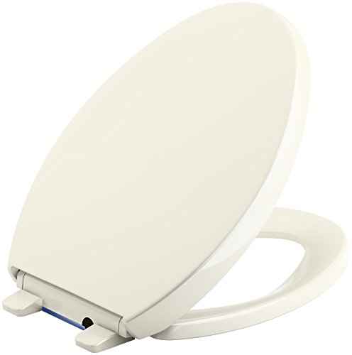 KOHLER 75792-96 Reveal Nightlight Quiet-Close with Grip-Tight Elongated-Front Toilet Seat, Biscuit