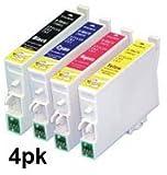 4 pack, Epson stylus compatible printer ink cartridges for sx218, S20,S21, SX100, SX105, SX110, SX115, SX200, SX205, SX210, SX215, SX400, SX405, SX410, SX415, SX515W, SX209, SX405 WIFI, SX510W, SX515W, SX600FW, SX610FW, BX300F, D78, D92, D120, DX4000, DX