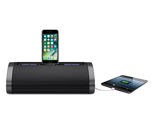iHome 2.1 Dual Apple iPhone 7 6S 6 6 Plus 5 5S 5C SE iPad Air 2 3 4 Mini 3 Speaker Dock Docking Station Mains Powered Charging Station / Portable / Travel (Re-chargeable) with Tru Bass + USB Fast Charge Port for Charging Smartphones/Tablets