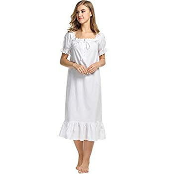 Avidlove Womens Cotton Victorian Vintage Short Sleeve Nightgown Sleepwear
