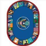 "Joy Carpets Kid Essentials Early Childhood Oval Symbols of America Rug, Multicolored, 5'4"" x 7'8"""