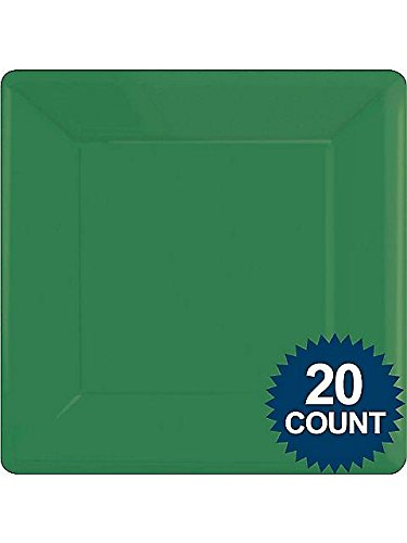 "10 1/4"" Green Square Paper Plates 20 per pack"