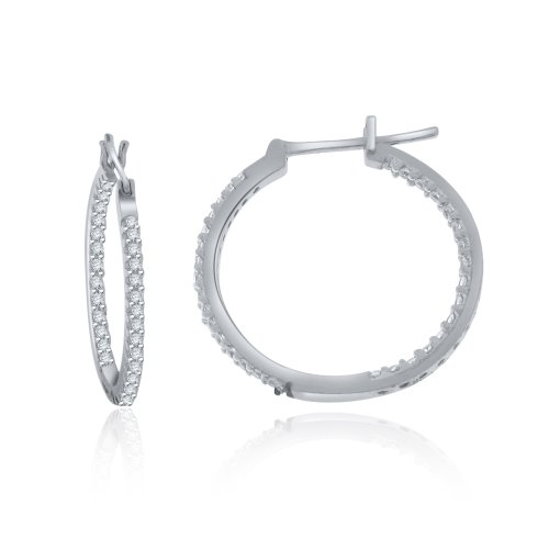 Sterling Silver Large in & Out Simulated Diamond Hoop Earrings