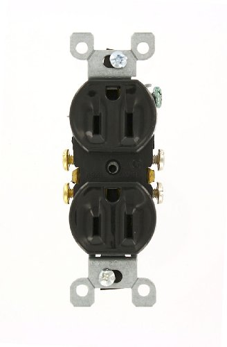 Leviton 5320-Ecp 15 Amp, 125 Volt, Duplex Receptacle, Residential Grade, Grounding, All Screws Backed Out, Single Unit, Black