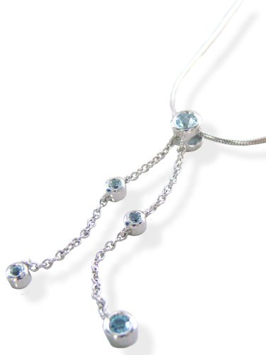 / Natural Blue Topaz necklace and supple SV snake chain! [Birth stone January 11] [Jewelry]