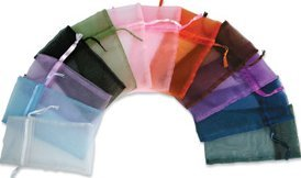 """Organza Bags Sheer PACKAGE of 12 ROYAL BLUE Pouches 3.25"""" x 4.25"""" with Satin Drawstring Organza Fabric"""