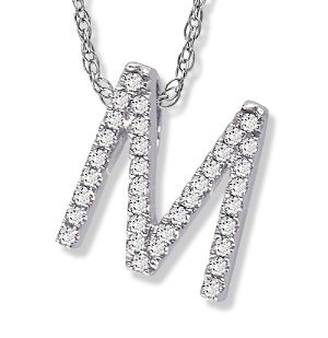 "14K White Gold Diamond ""M"" Initial Pendant, 16"" Necklace: Jewelry"