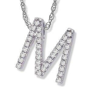 14K White Gold Diamond M Initial Pendant 16 Necklace