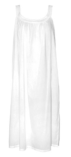 The Irish Linen Store Womens Lily Sleeveless Cotton Nightdress White