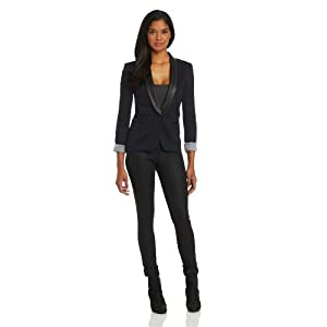 James Jeans Women's Ponte Combo Tuxedo Blazer, Blue Black Ponte, Large