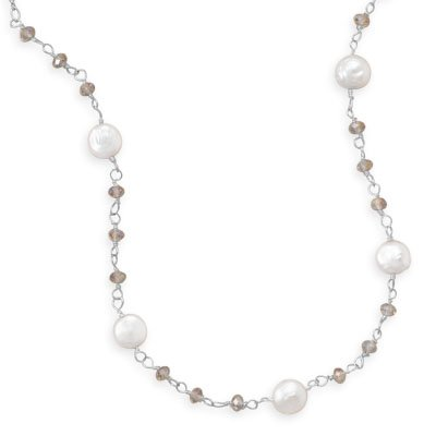 16.5 Inch+2 Inch Cultured Freshwater Coin Pearl and Crystal Necklace