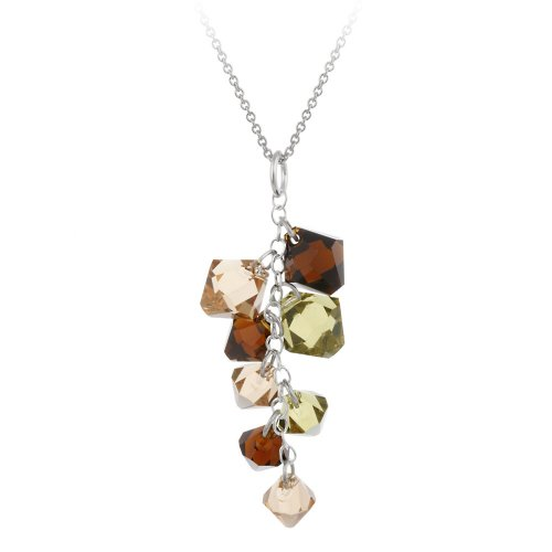 Sterling Silver Multi Earth Tone Swarovski Elements Linear Drop Pendant Necklace with Rolo Chain, 18