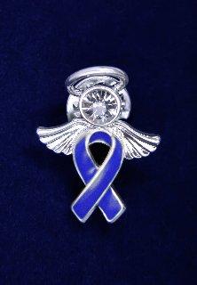 Dark Blue Ribbon Pin - Angel Tac (36 Pins)