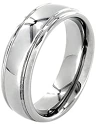 6mm Polished White Tungsten Wedding Ring for Women & Men, Double Grooved Retail Quality Comfort Fit