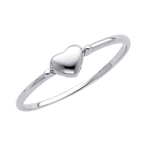 14K White Gold Heart Promise Ring Band - Size 5.5