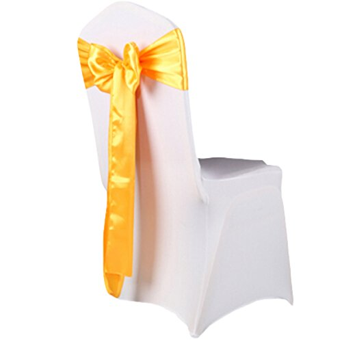 Whatwears 100Pcs Colorful Satin Banquet Wedding 6X108 Inch Chair Cover Bow Sash