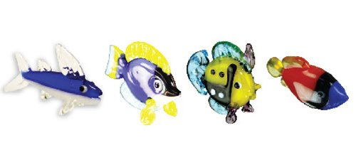 Looking Glass Miniature Collectible - Flying Fish / Tang Fish / Reef Fish / Trigger Fish (4-Pack)